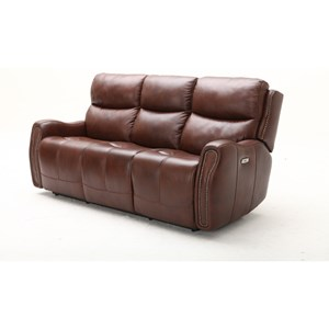 Transitional Power Headrest Reclining Sofa with USB Port