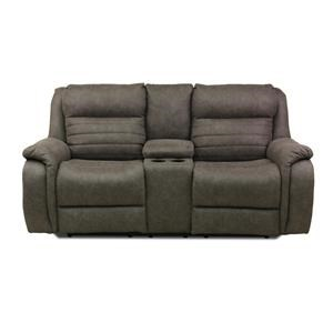 Contemporary Console Power Headrest Loveseat with USB Port and Cupholders
