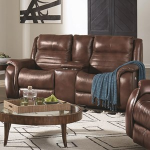 Contemporary Console Double Reclining Loveseat with Cupholders