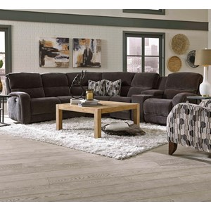 Angled Power Reclining Sectional with Power Headrests, Lumbar Support, and Massage