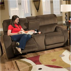 Casual Console Sofa with Storage and Cup-Holders