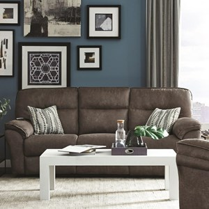 Casual Double Reclining Sofa with Dropdown Table