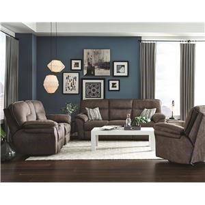 Reclining Sofa with Drop Down Table and Power Loveseat with Console