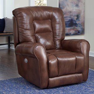 Casual Swivel Rocker Recliner with Pad-Over-Chaise Seating
