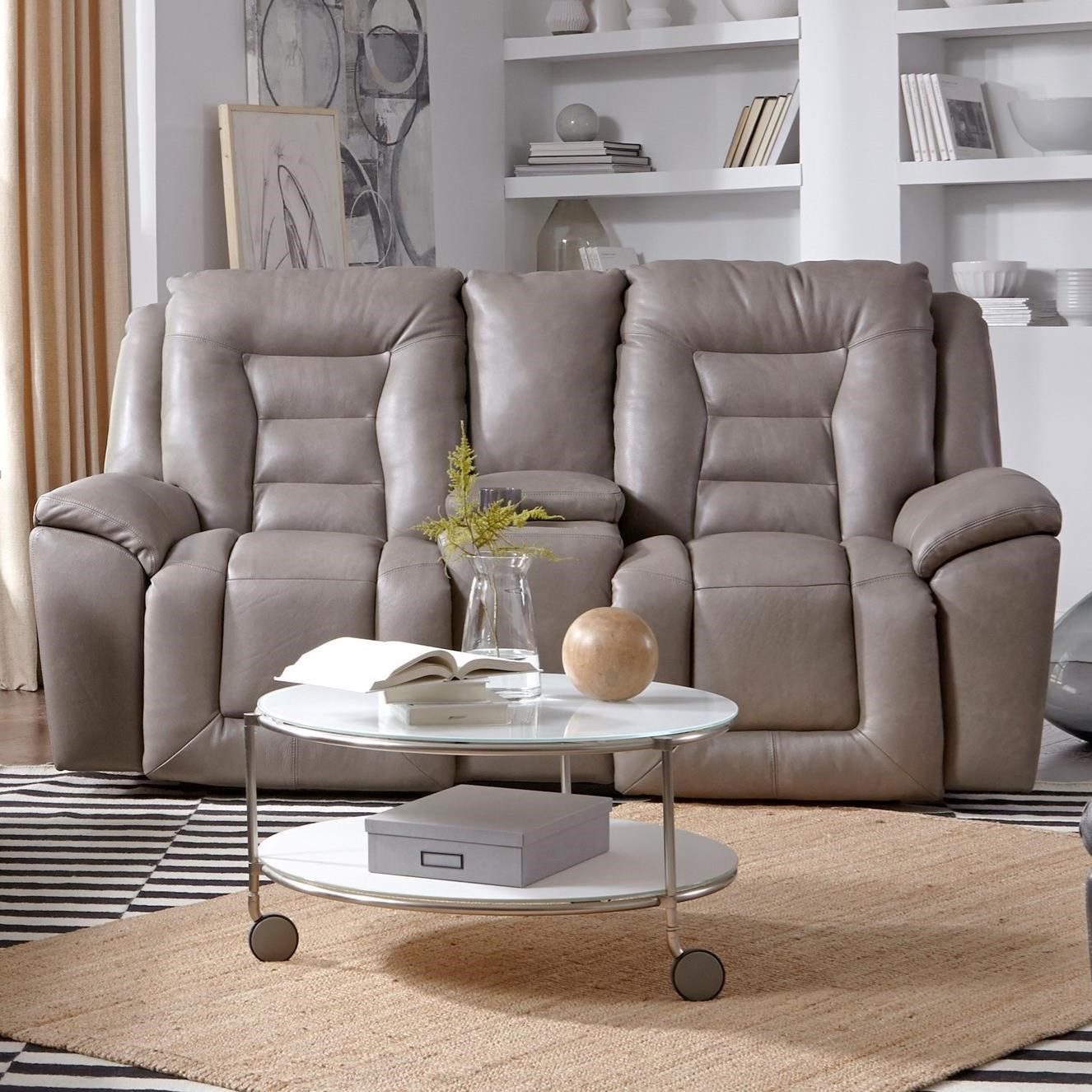 Grid Iron Double Reclining Sofa w/ Console by Southern Motion at Home Furnishings Direct
