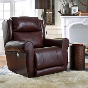 Transitional Power Headrest Big Man's Wallhugger Recliner with Pad-Over-Chaise Seating