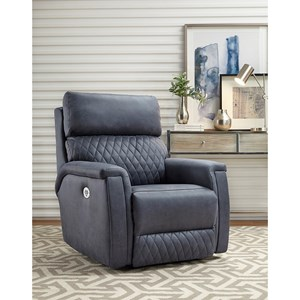 Contemporary Power Headrest Rocker with Pad-Over-Chaise Seating and Quilted Stitching
