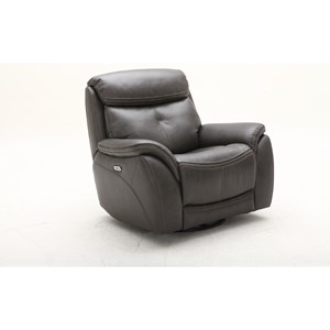 Contemporary Swivel Glider Power Headrest Recliner with USB Port