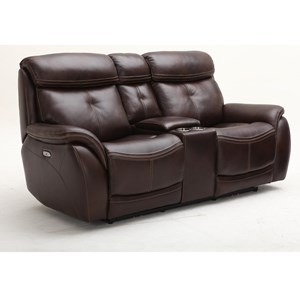 Contemporary Power Headrest Console Loveseat with USB Port