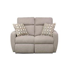 Contemporary Double Reclining Loveseat with 2 Pillows and Power Headrests