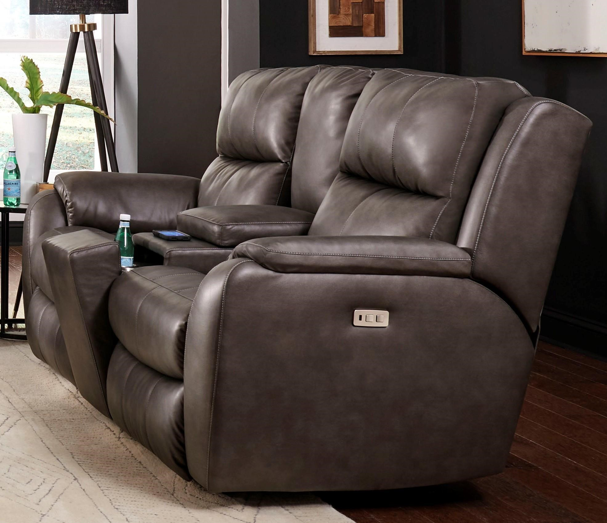Marquis Power Reclining Console Loveseat by Southern Motion at Johnny Janosik