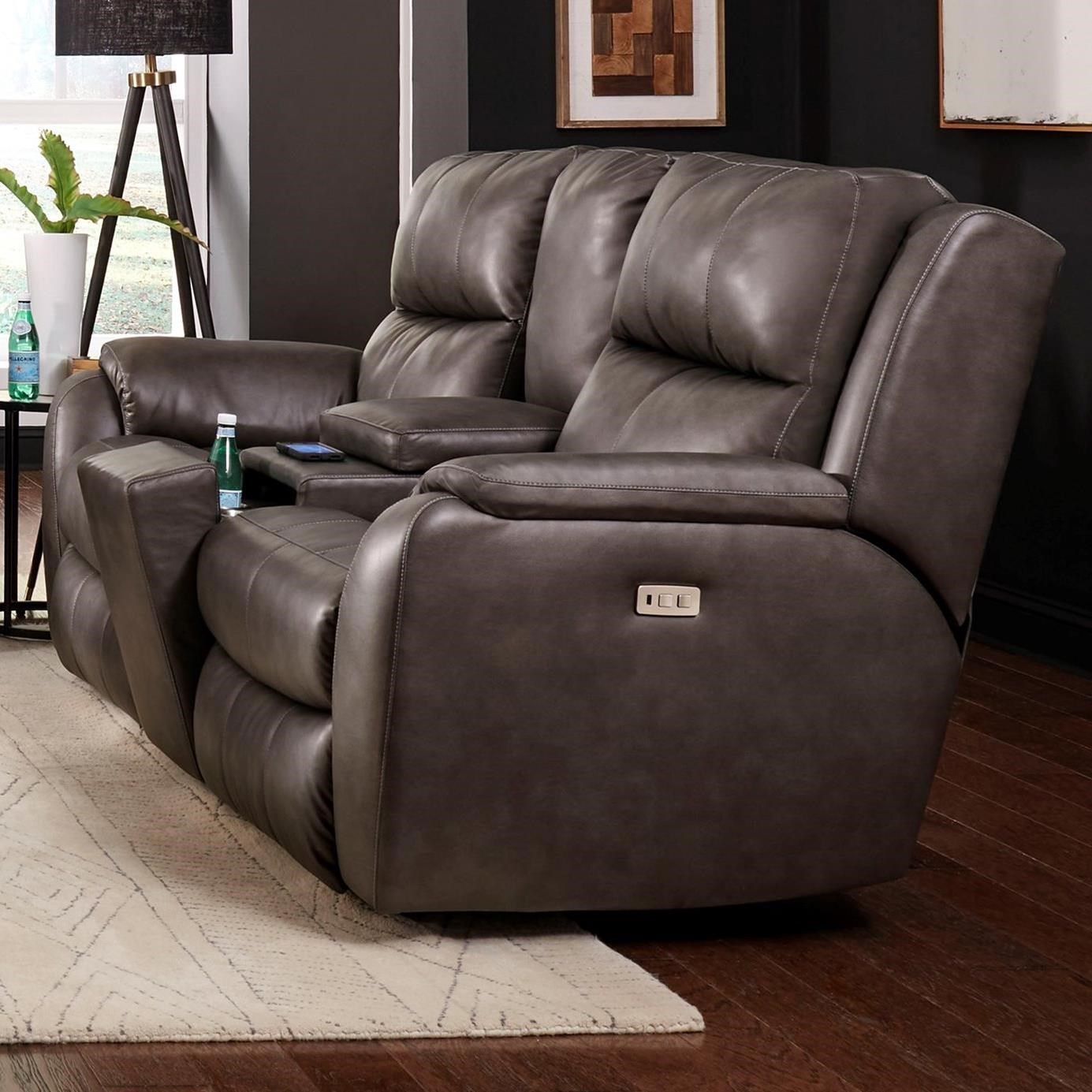 Marquis Pwr Headrest Loveseat w/ Console by Southern Motion at Furniture Barn
