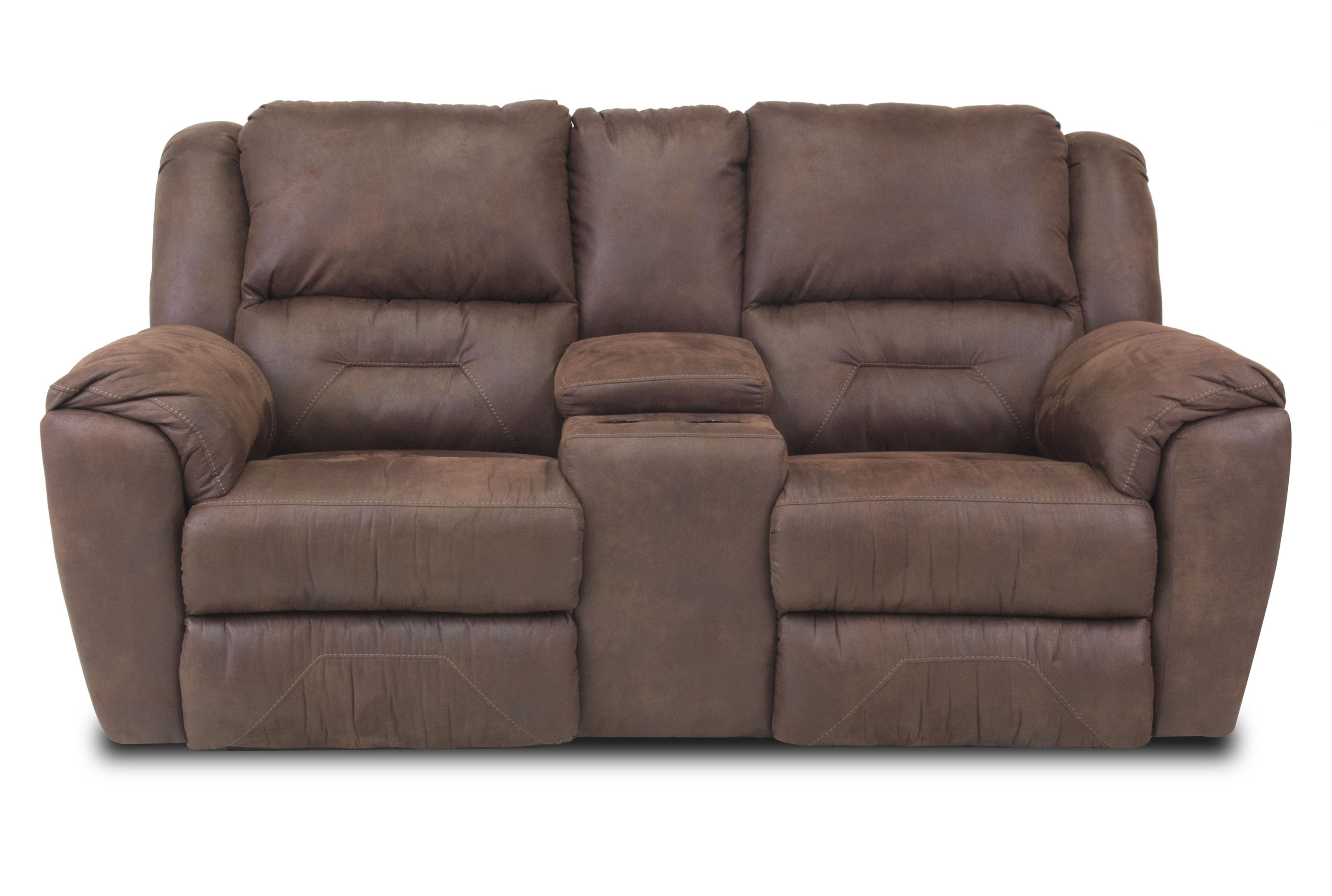 Double Reclining Console Sofa with Cup-Holders