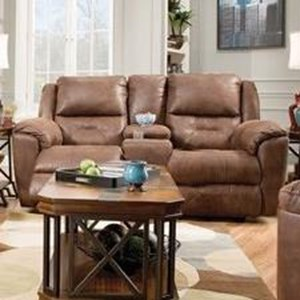 Southern Motion Pandora Double Rec. Console Sofa with Power Headrest