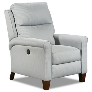 Contemporary Power Recliner with Wooden Legs