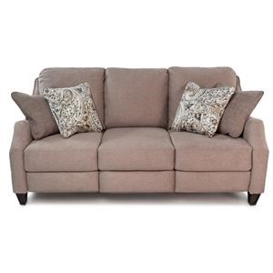 Transitional Double Reclining Power Plus Sofa with Pillows