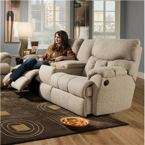 Comfortable Console Sofa with Two Cup-Holders and Storage Console