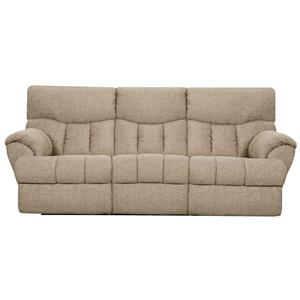Double Reclining Sofa with Two End Recliners and Padded Footrests