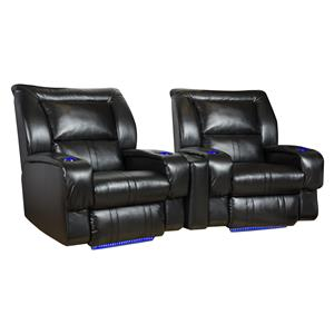 Theater Seating Arrangement (Wall Hugger) with 2 Seats, LED Lights and Cup-Holders