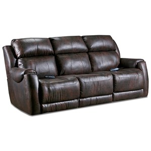 Casual Power Double Reclining Sofa with Power Headrests