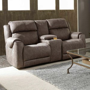Casual Power Headrest Reclining Loveseat with Console