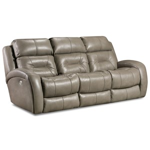 Double Reclining Sofa with Power Headrest, Drop Down Table, and Lumbar Support