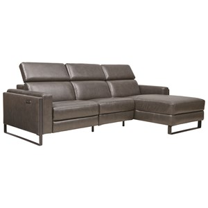 Contemporary 3-Piece Chaise Sofa with Power Recliner, Power Headrests, USB Charging Ports