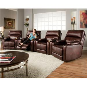 Theater Seating Group with 4 Lay-Flat Recliners and Cup Holders