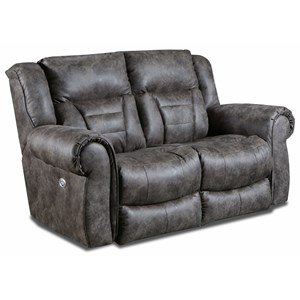 Casual Power Headrest Double Reclining Loveseat with USB Ports