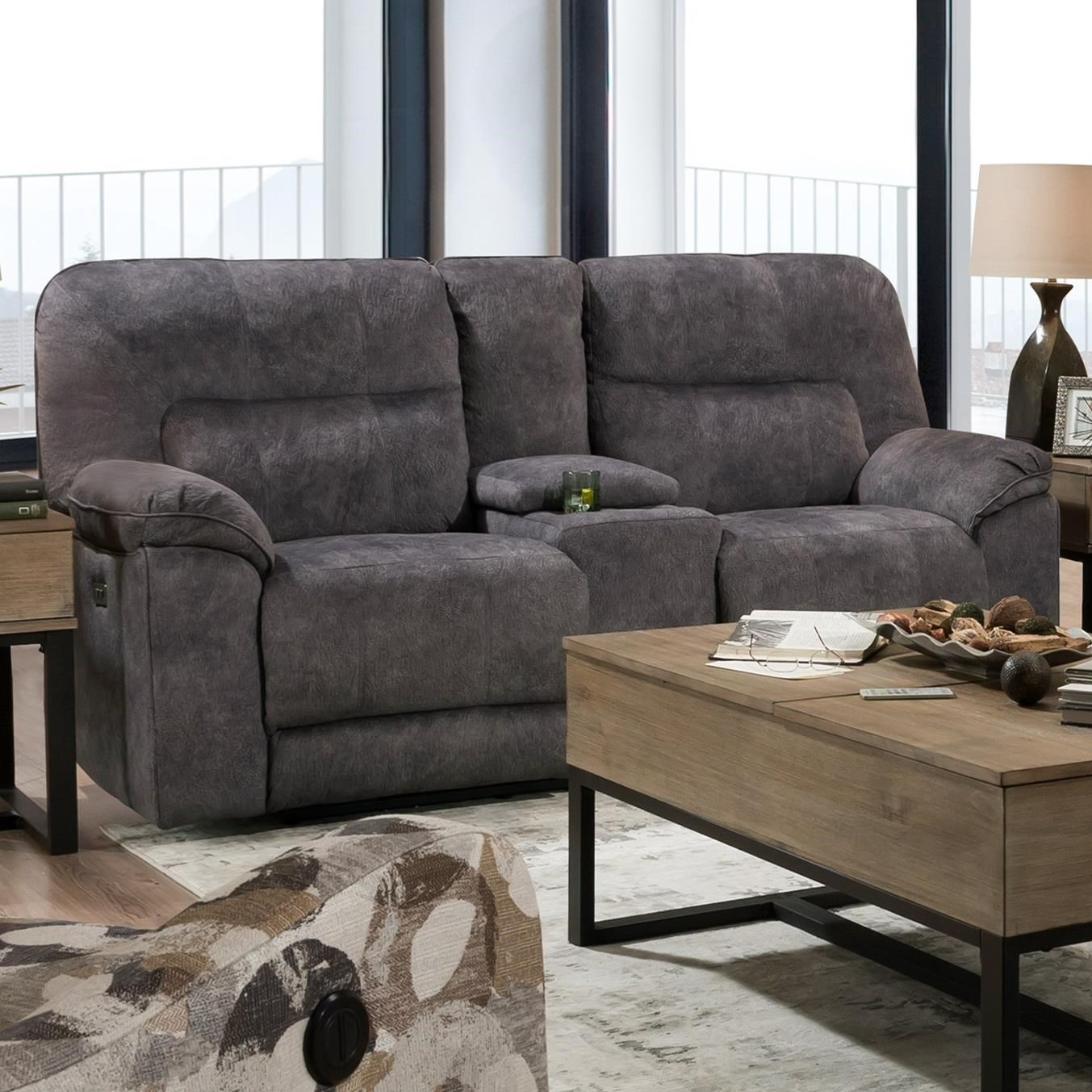 Top Gun Power Reclining Console Sofa w/ Pwr Hdrsts by Southern Motion at Furniture and ApplianceMart