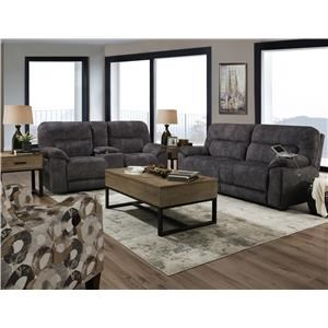 Power Reclining Sofa with Adjustable Headrest and Power Reclining Loveseat with Console and Adjustable Headrest Set