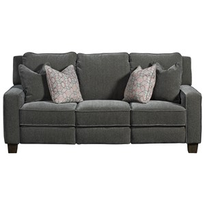 Transitional Double Reclining Power Plus Sofa with Pillows and USB Ports