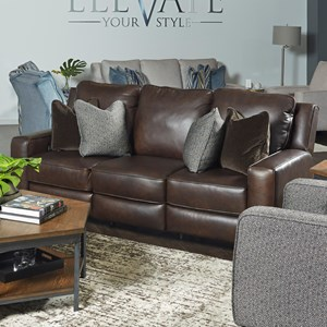 Transitional Power Headrest Sofa with Pillows and USB Port
