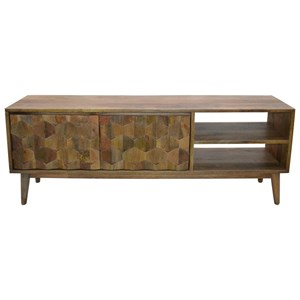 Solid Mango Media Console with Geometric Doors