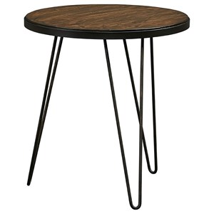 Mid-Century Modern Round End Table with Hairpin Metal Legs