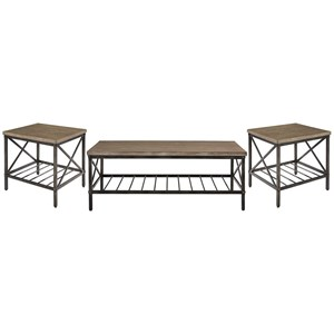 Industrial Occasional Table Group with Metal Ladder Shelves