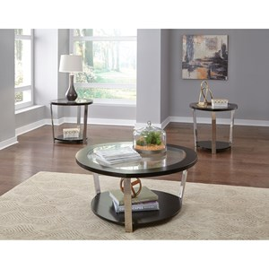 Contemporary Occasional Table Group with Tempered Glass Top