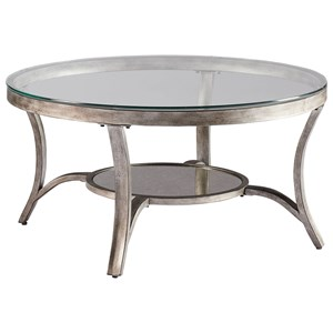 Transitional Round Cocktail Table with Antiqued Mirror Bottom Shelf