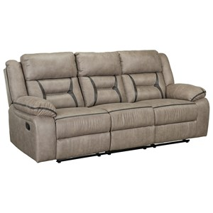 Casual Manual Reclining Sofa with Drop Down Center