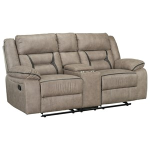 Casual Gliding Manual Reclining Loveseat with Center Console