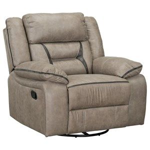 Casual Swivel Gliding Recliner with Pillow Arms