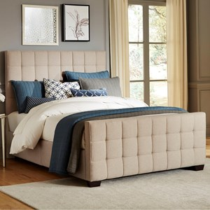 Queen Upholstered Bed with Square Tufting