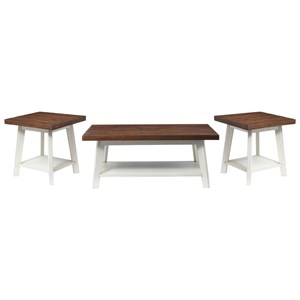 Three Piece Accent Table Set Two-Tone