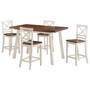 Counter Height Two-Tone Table and Chair Set