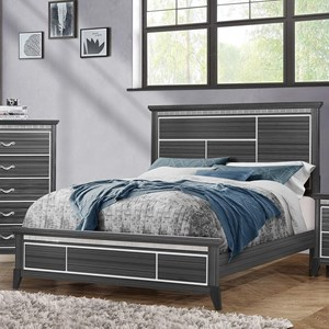 Contemporary Queen Panel Bed with Tiled Mirror Accents