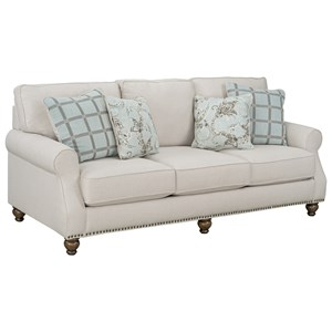 Transitional Sofa with Nailhead Trim Base