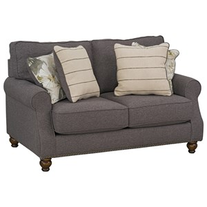 Transitional Love Seat with Nailhead Trim Base