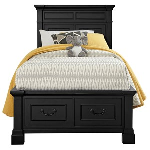 Transitional Low Profile Twin Bed with 2 Drawer Footboard Storage