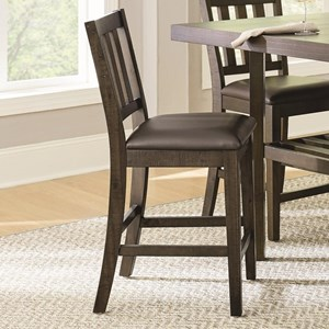Transitional Counter Height Dining Chair with Slatted Back and Upholstered Seat 2-Pack