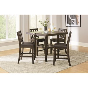 Transitional 5-Piece Counter Height Dining Set with Slatted Open Shelf